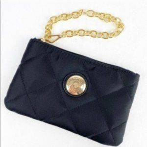 Tommy Hilfiger Black Quilted Wristlet With Gold